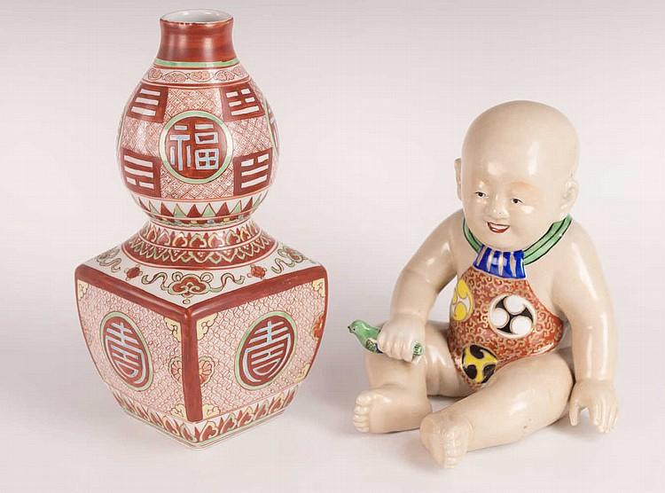 Japanese Porcelain Tokkuri and Child Figure