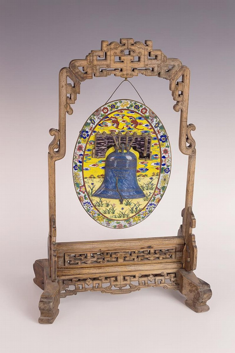 Chinese Cloisonne Plaque of Liberty Bell