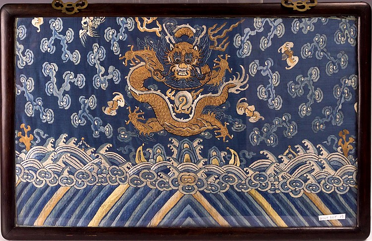 Framed Chinese Silk Embroidered Robe Fragment