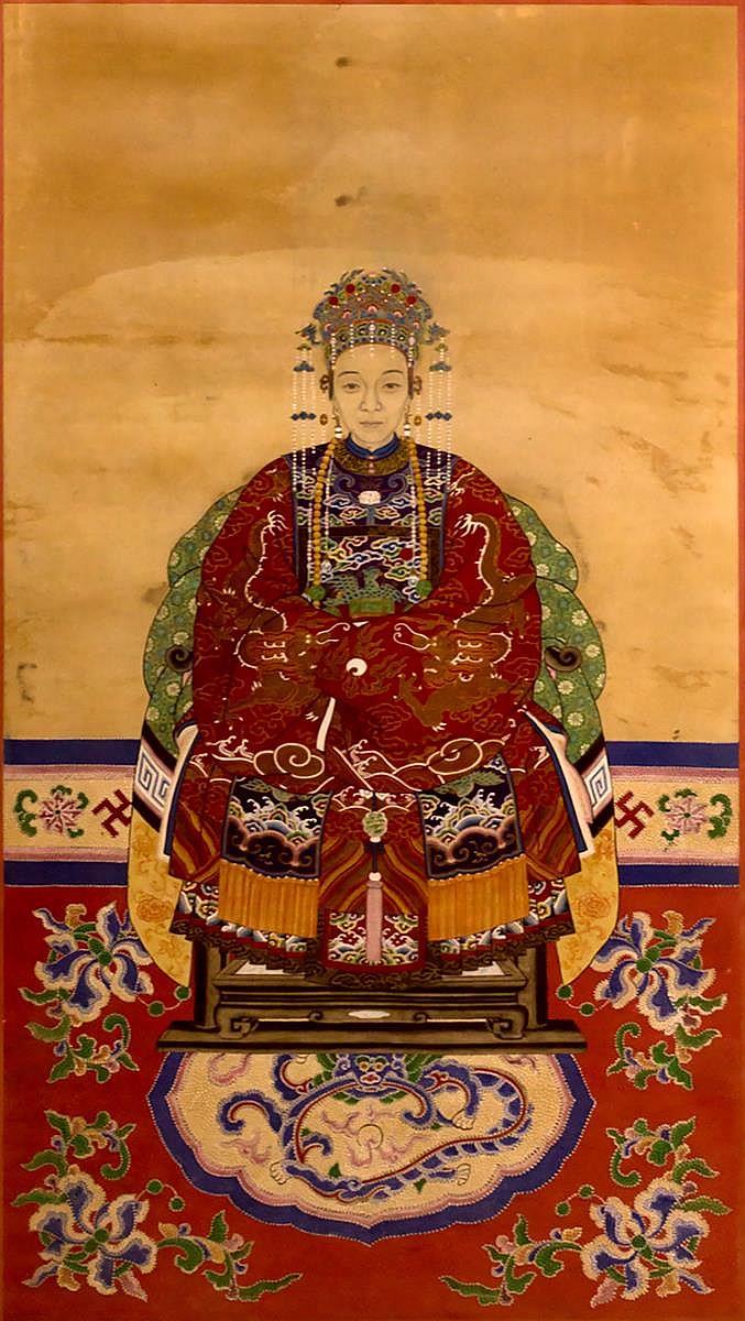 Framed Chinese Qing Dynasty Ancestor Portrait