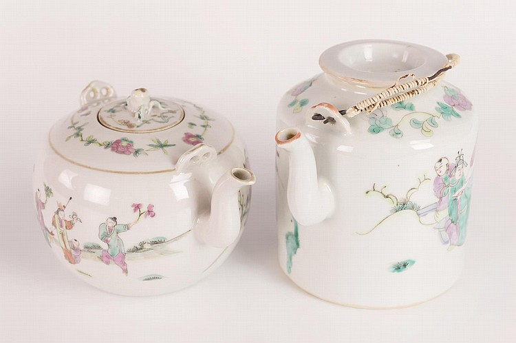 Two Chinese Lidded Teapots