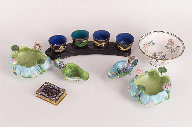 Chinese Cloisonne and Canton Enamel Group