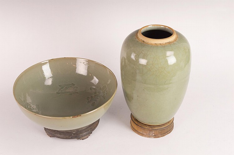 Two Chinese Celadon Crackle Glazed Monochromes
