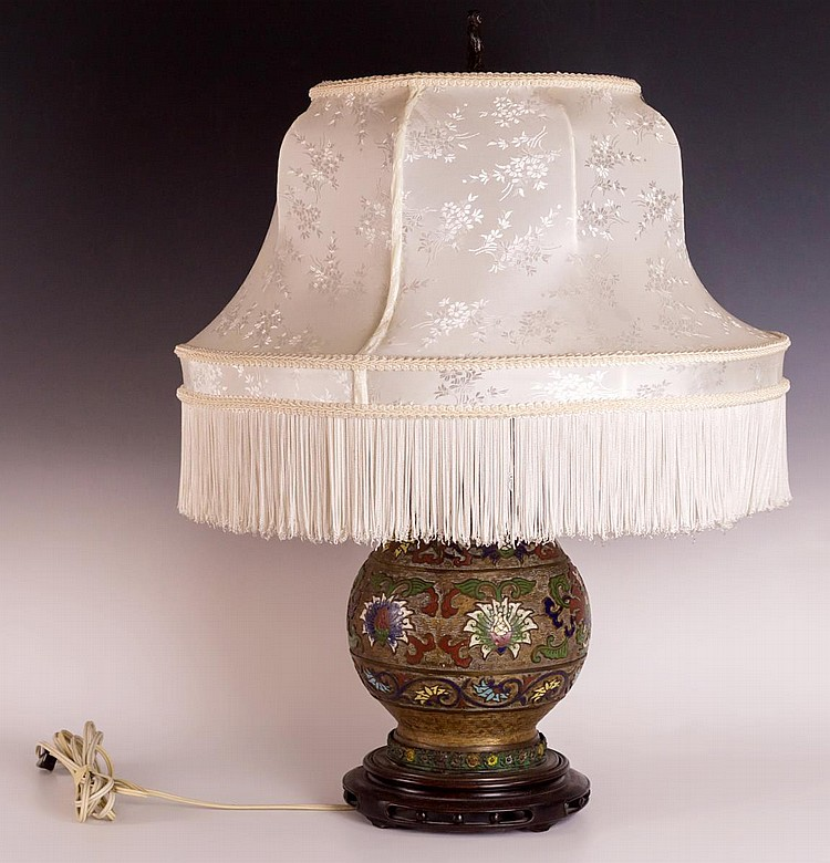 Chinese Champleve Lamp with Shade and Asian Metal Vase