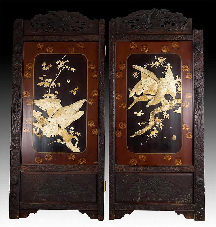 Japanese Meiji Two-panel Carved Lacquered Screens