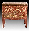Chinese Carved Lacquered & Painted Chest