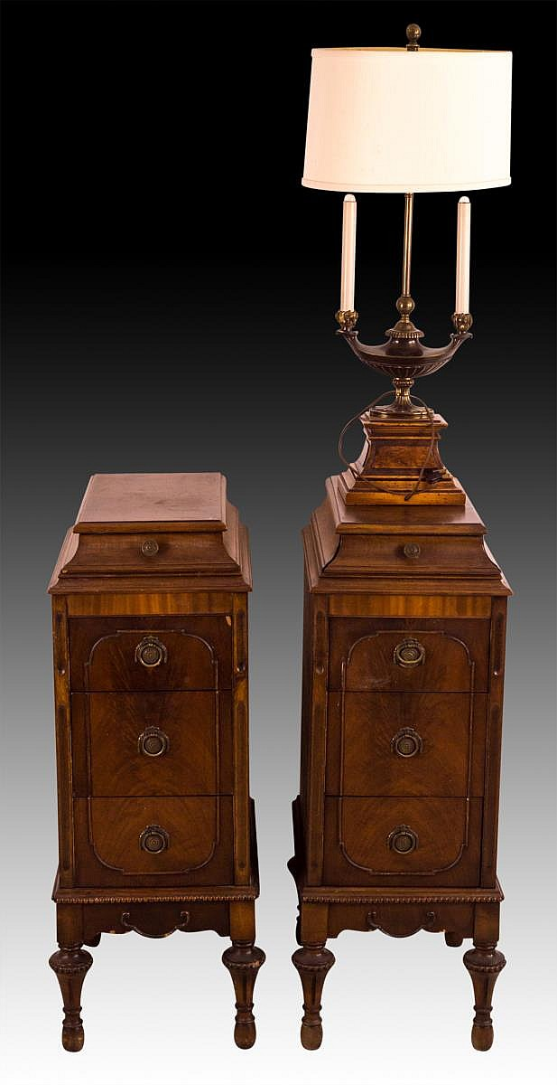 Two Antique Wood Bedside Stands plus Lamp
