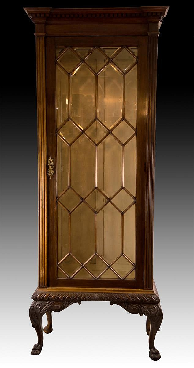 Wood and Beveled Glass Display Cabinet