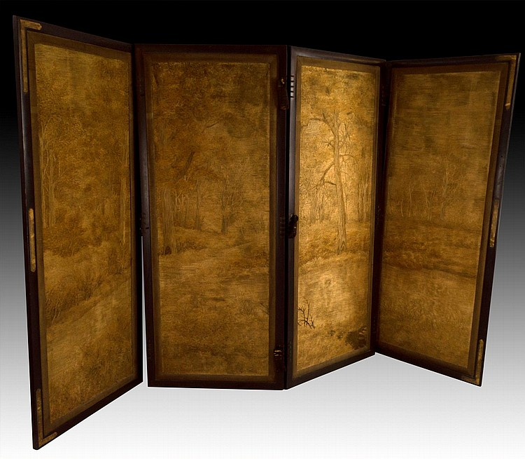 Four Panel Asian Wood Screen with Woven Panels