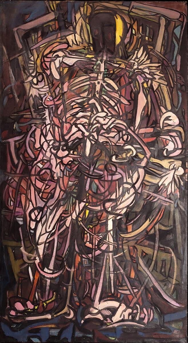 Jean Stidger (20th C) Skeleton Ritual Oil Painting