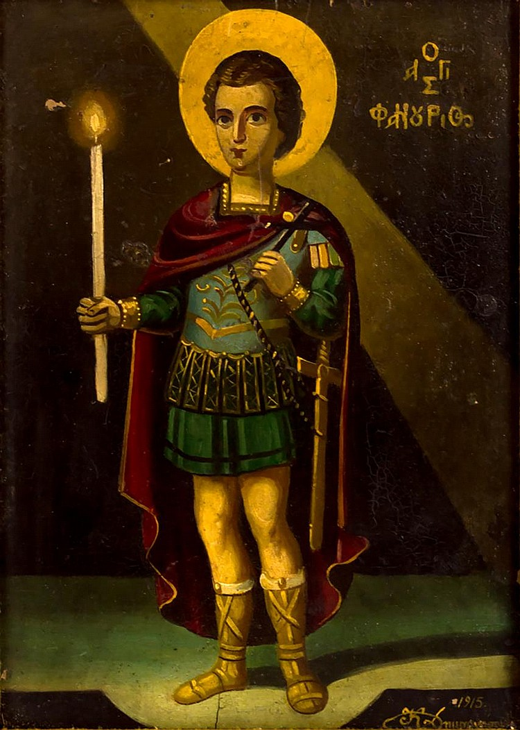 1915 Russian Icon, St Michael Oil Painting