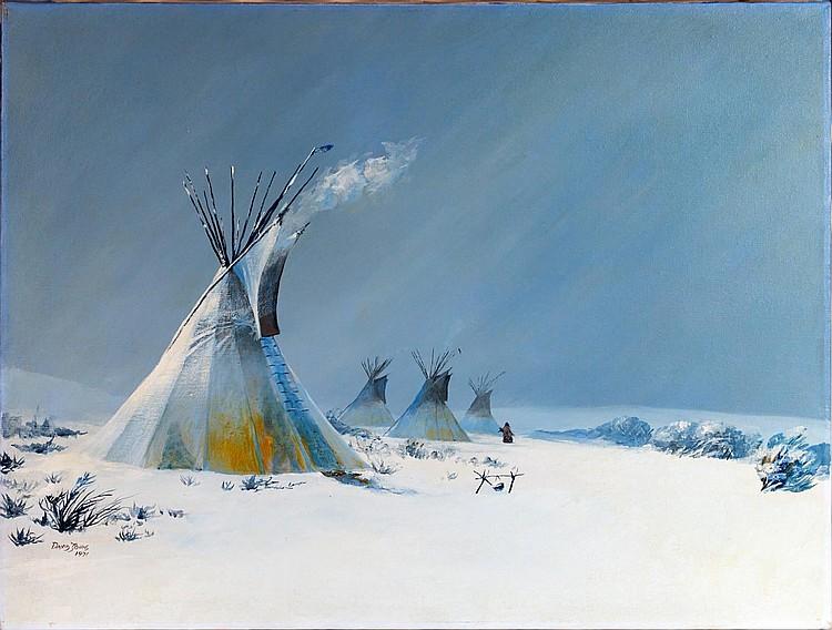 David Johns (b1948) Native American Camp Painting