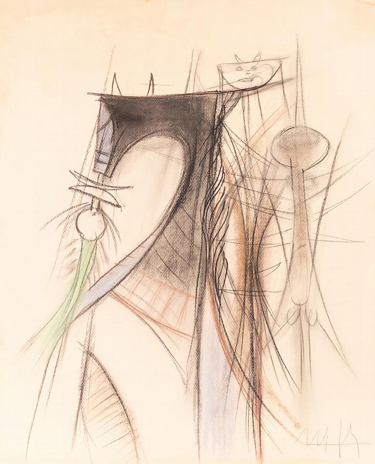 Wilfredo Lam (1902-1982) Mixed Media