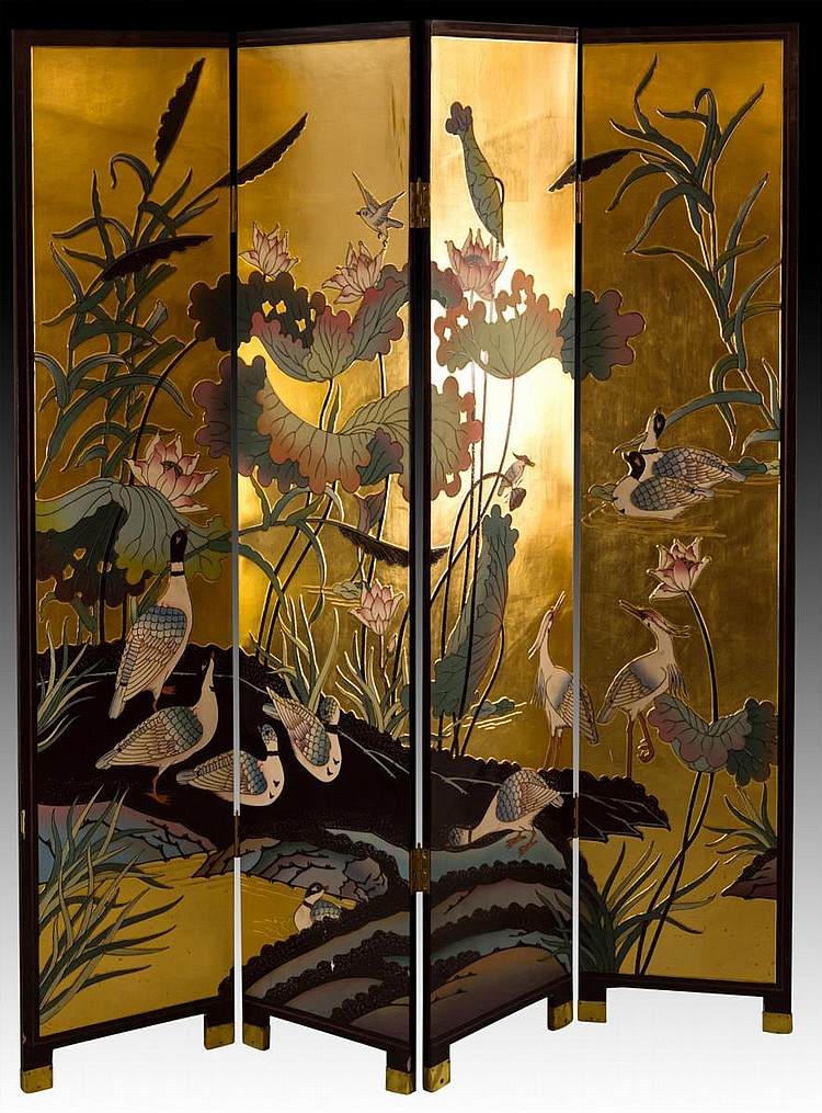 Four Panel Asian Black Lacquer Screen