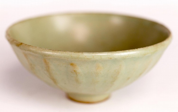 Asian Celadon Color Lotus Bowl