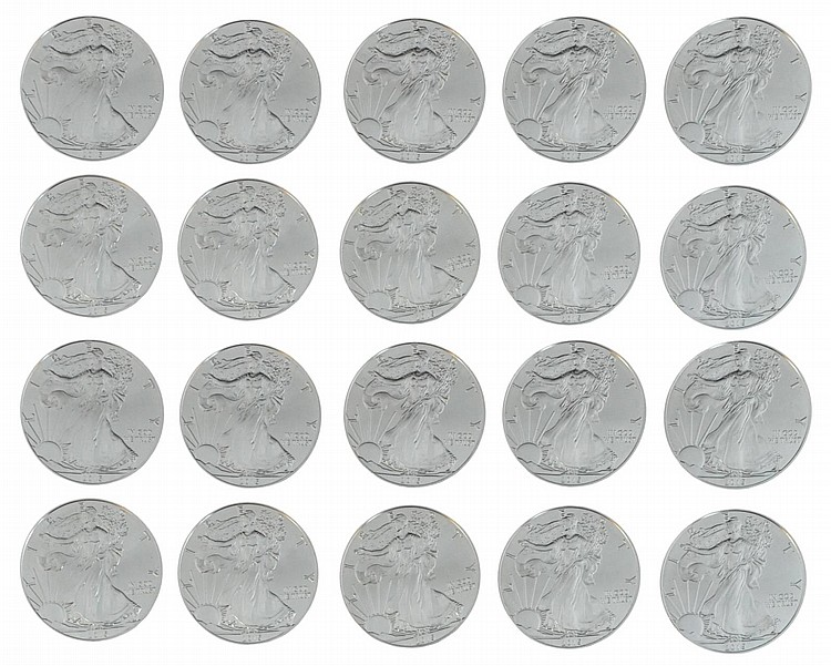Twenty 2015 Uncirculated Silver Eagle Dollar Lot