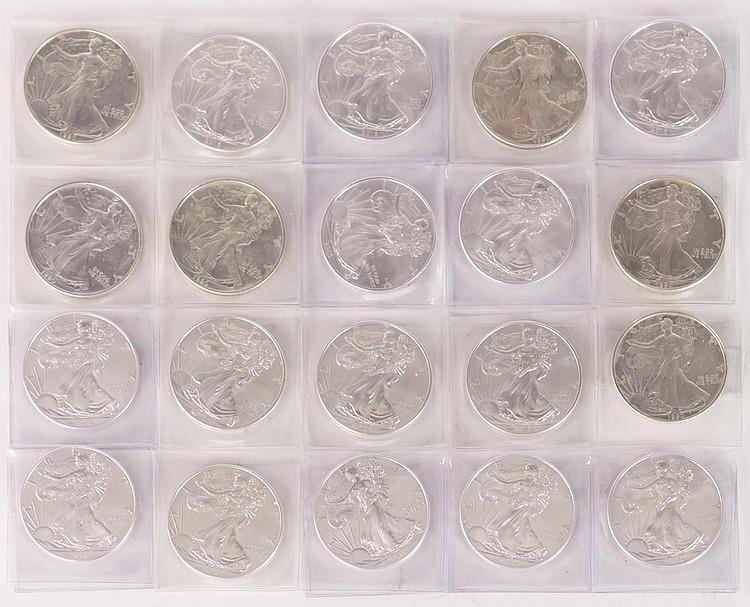 Twenty Uncirculated Silver Eagle Dollar Lot