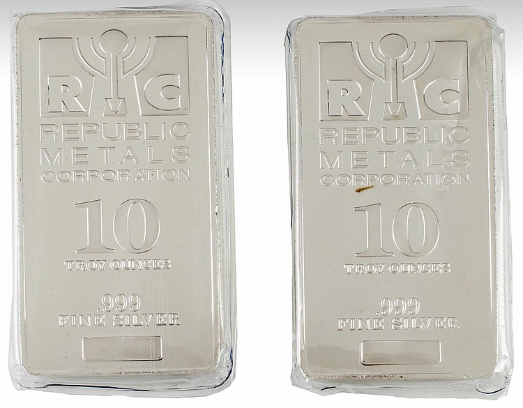 2 Pc. 10 Troy Oz .999 RMC Fine Silver Bullion