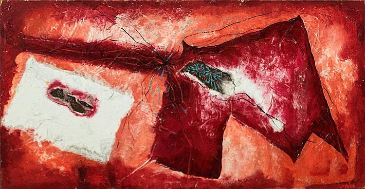Harold Laynor (1922-1991) Red Mixed Media
