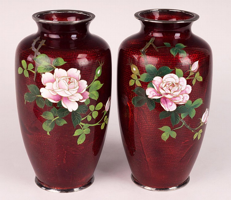 Pr. Japanese Pigeon Blood Foil, Akasuke Rose Vases