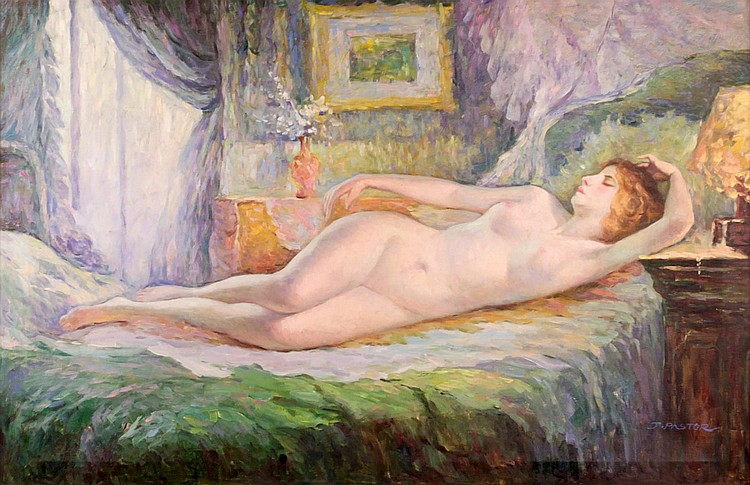 J. Pastor Oil on canvas, Portrait of a Nude Woman