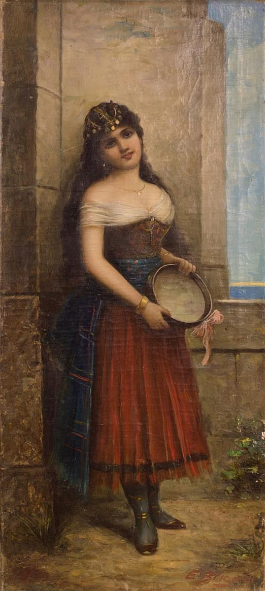 Signed Oil on Canvas, Portrait of a Young Woman