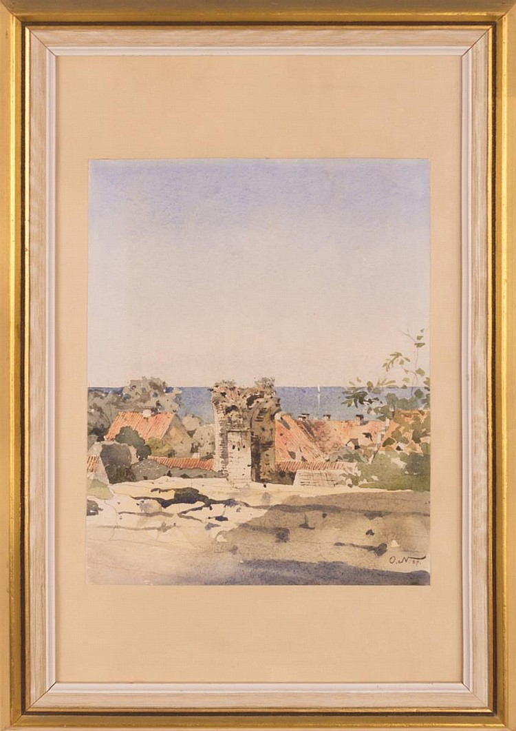Vintage Signed O.N. Watercolor on Paper
