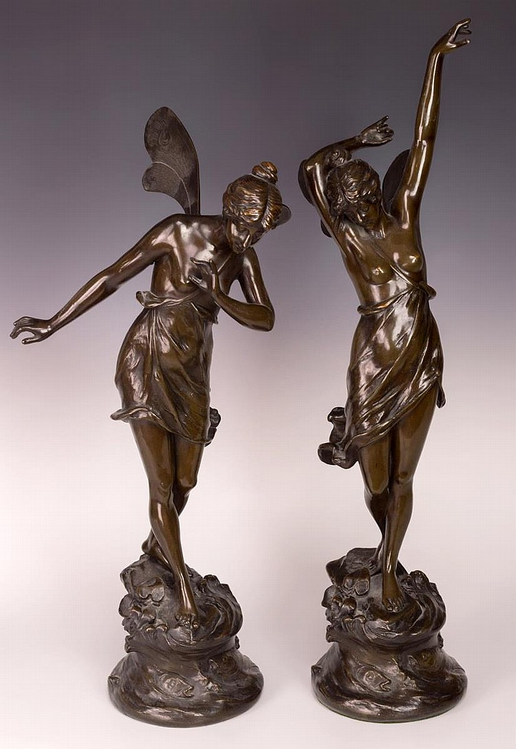 Pair of Armando Amaya Bronze Fairy Sculptures