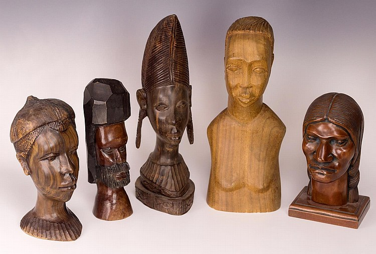 Lot of 5 Wooden Busts