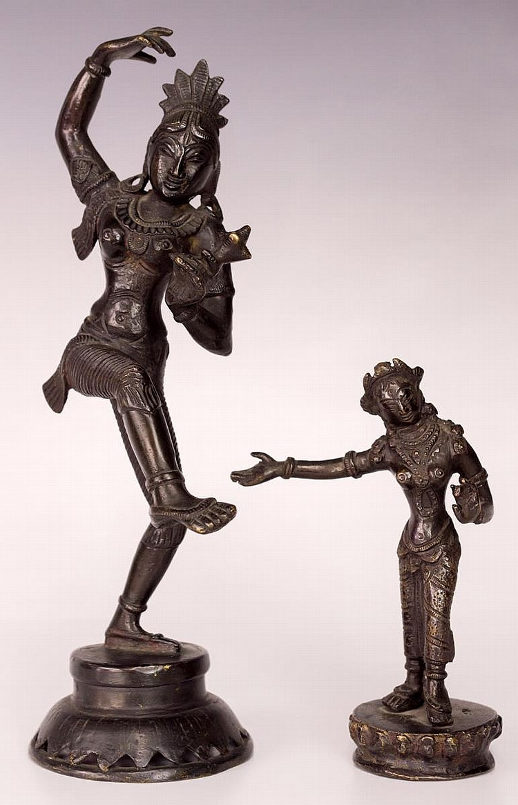 Pair of Asian Dancing Bronze Sculptures