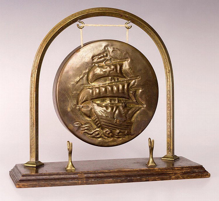 Bronze Dinner Gong with Wooden Base