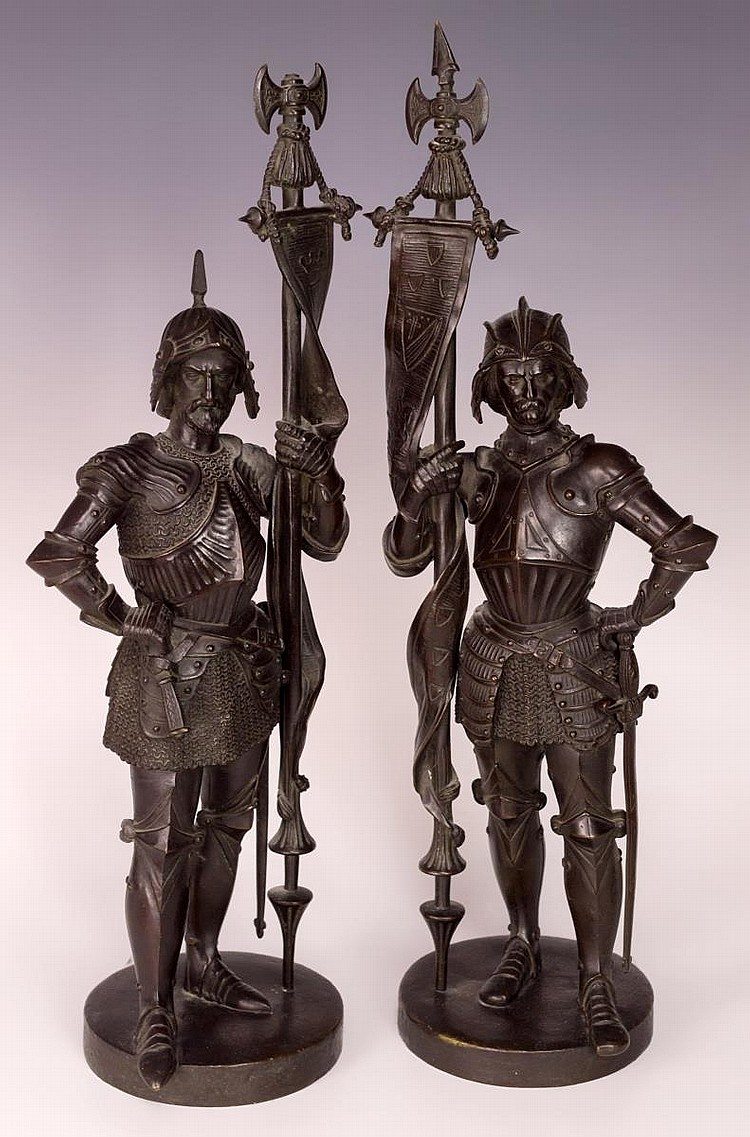 Pair of Soldiers Bronze Statues