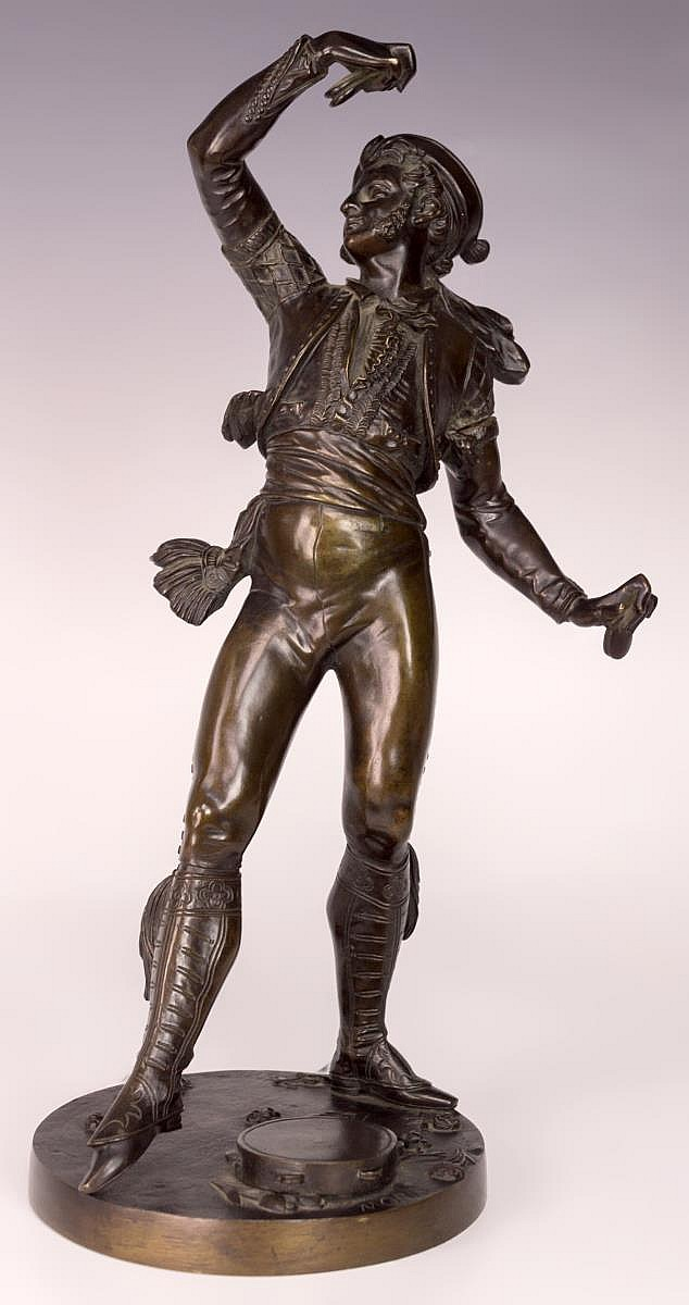 Louis Marie Moris, Male Dancer Bronze Sculpture