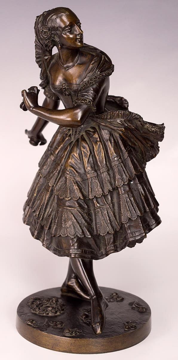 Louis Marie Moris, Female Dancer Bronze Sculpture