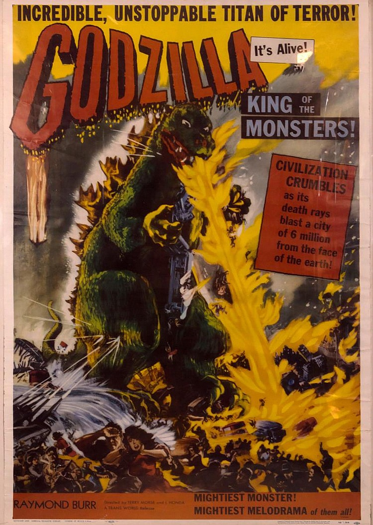Framed Vintage 1956 Godzilla Movie Poster