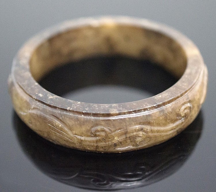 Asian Carved Jade Bangle Bracelet