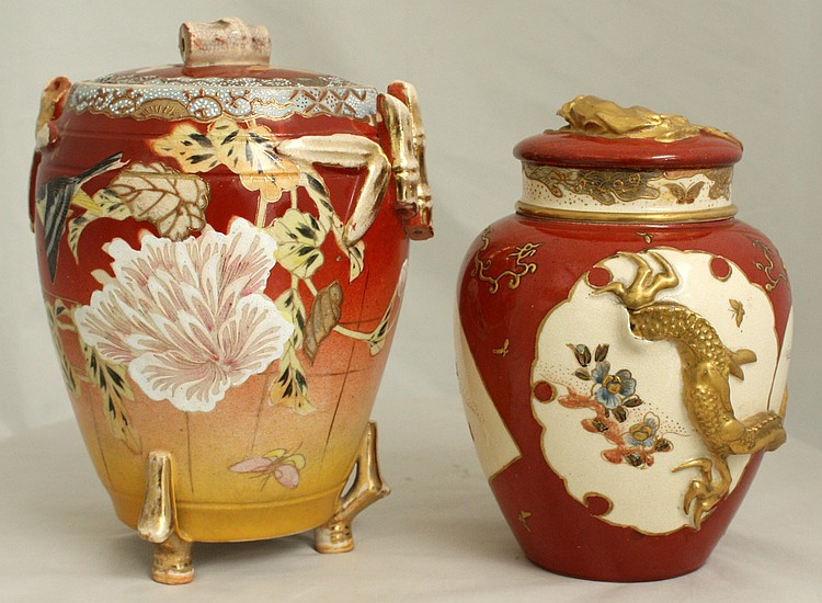 Two Japanese Satsuma Lidded Jars