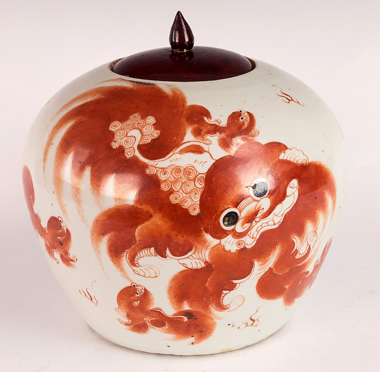 Chinese Late Qing Dynasty Ginger Jar with Buddhist Lion Dog