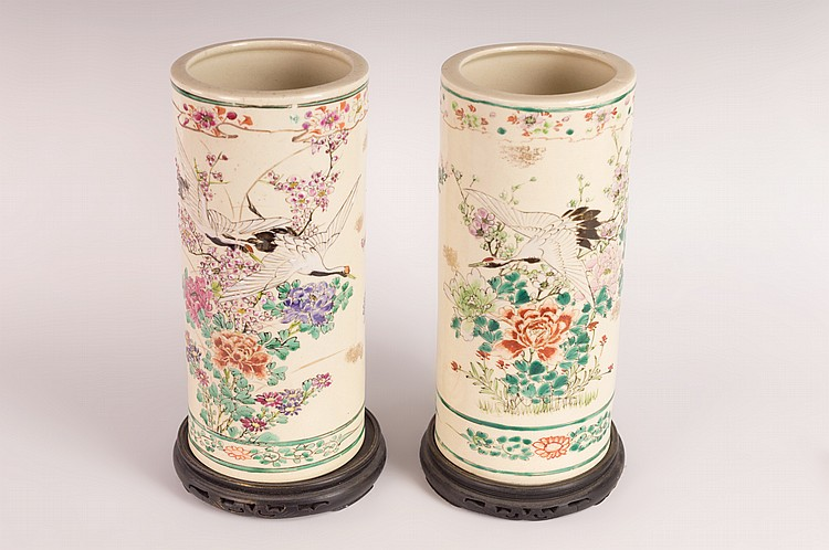 Signed Pair of Satsuma Cylindrical Vases