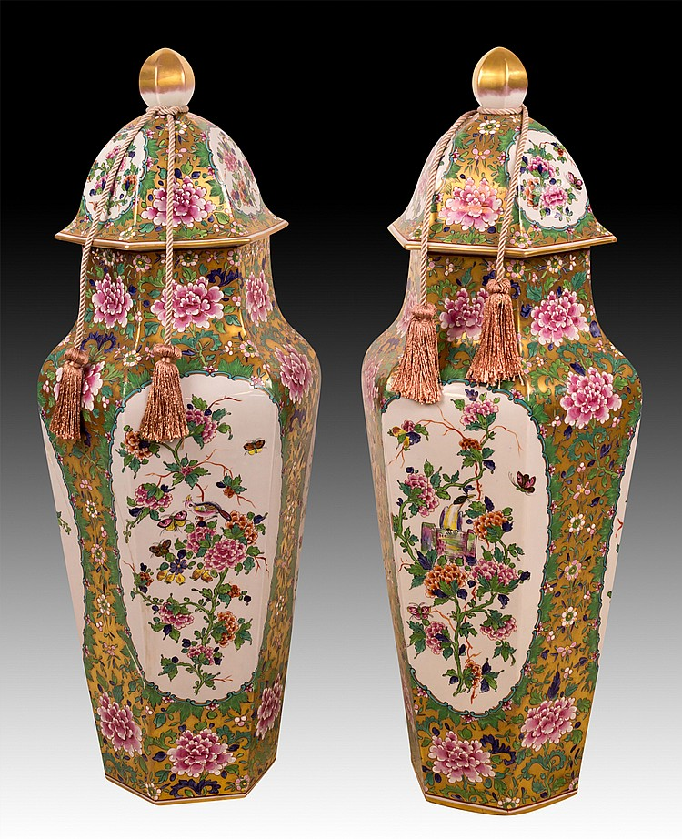 Two Large Chinese Lidded Jars
