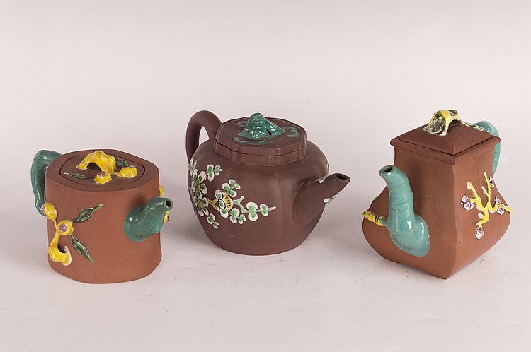 Group of Three Vintage Chinese Yixing Pottery Teapots