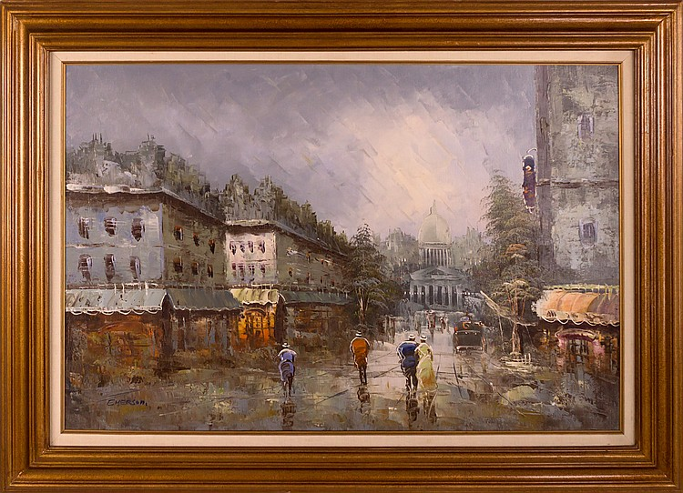 Signed Emerson Painting City Scene