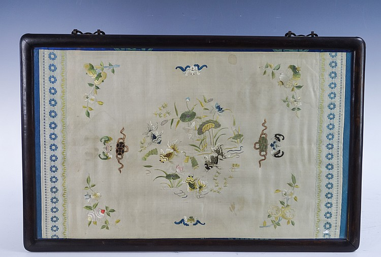 Two Framed Chinese Silk Embroidered Textiles