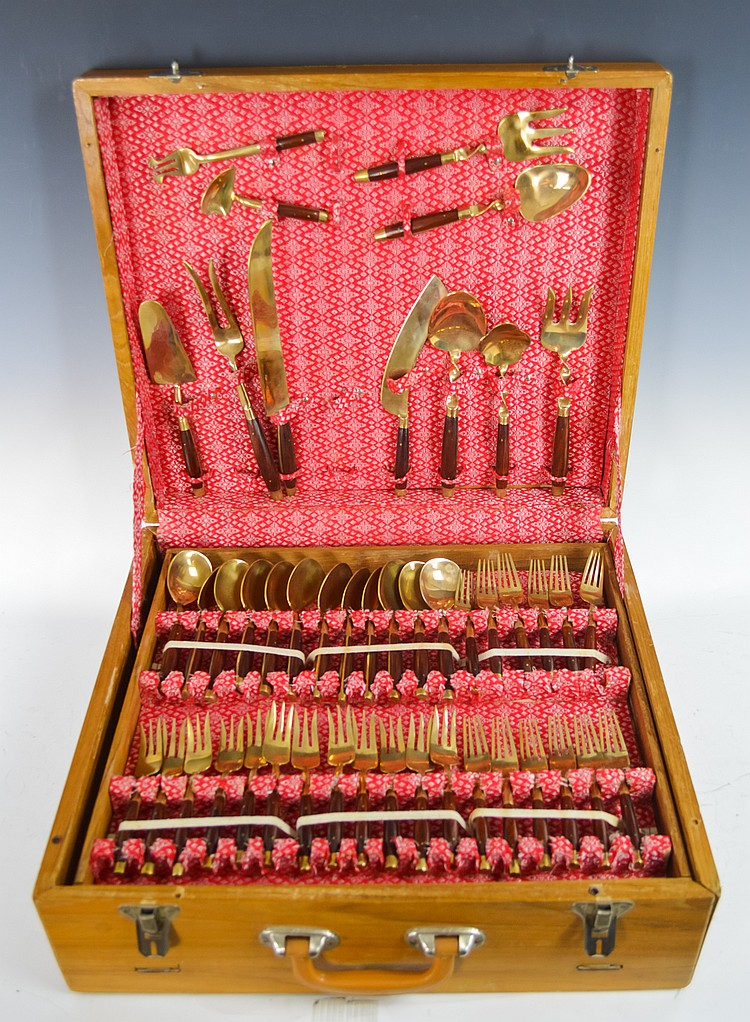 Large Set of Thai Bronze Flatware in a Case