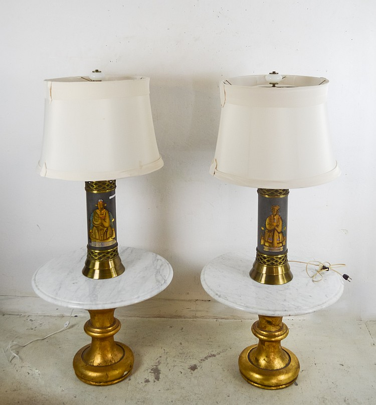 Two Circular Tables w/ Marble Tops w/ 2 Lamps
