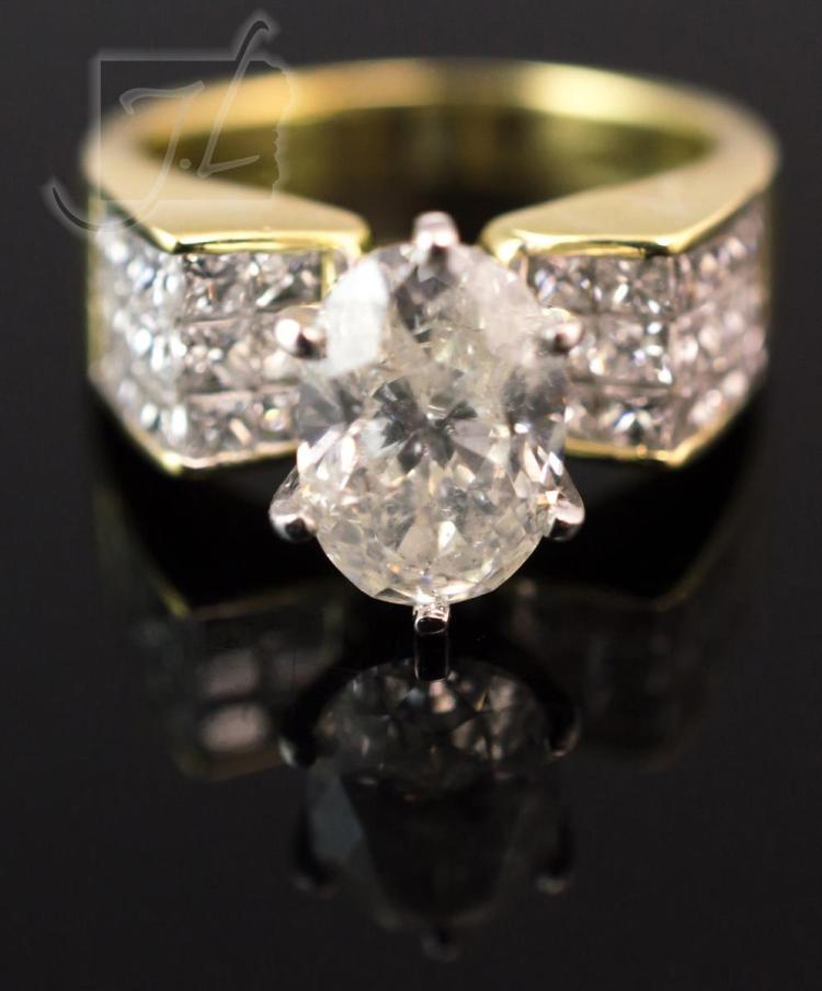 18K Yellow Gold 3.65 Carat Diamond Ring