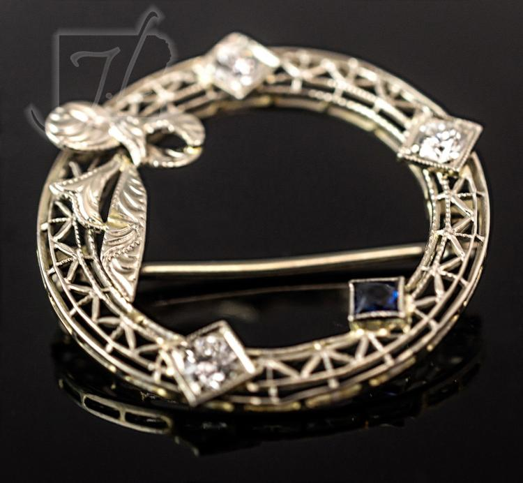 10K White Gold Diamond & Blue CZ Brooch