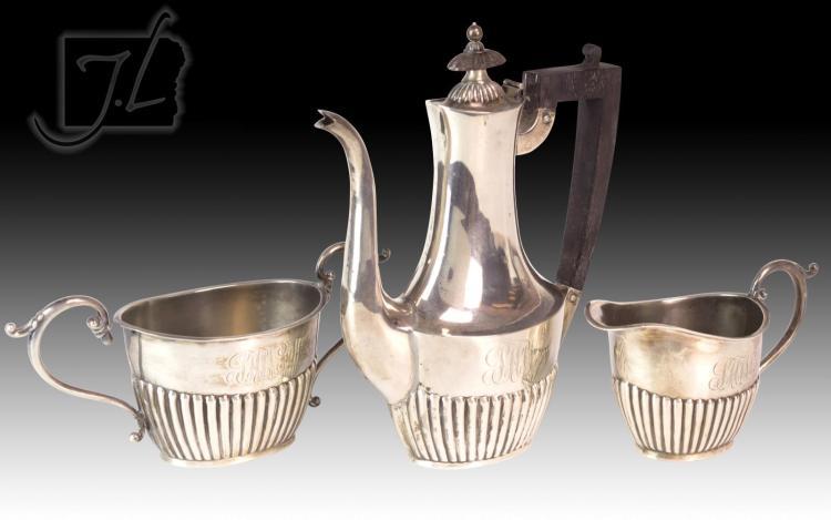 3 Pc. Sterling Silver Teapot, Cream & Sugar Lot