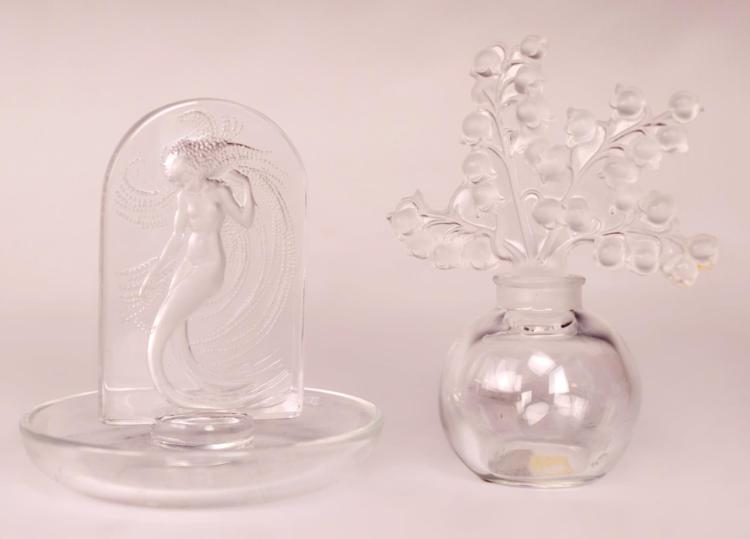 2Pc. Lalique Perfume Bottle & Ring Dish