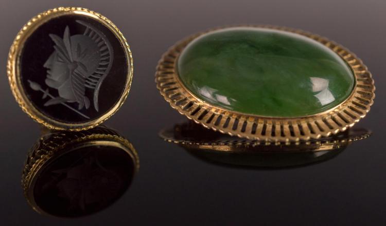 18K Gold Jade Stone Pin & Art Deco Intaglio Fob